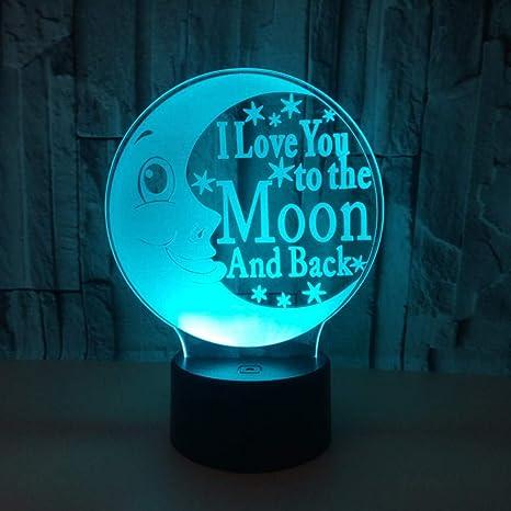 3D Ilusión óptica Lámpara LED Luz Juguete de la luna de ...