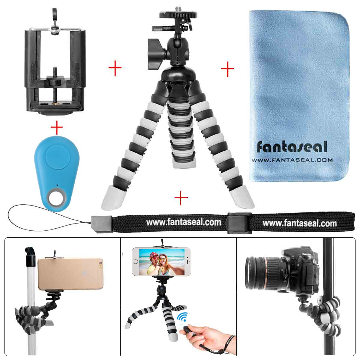 Fantaseal Smartphone Tripod w/Bluetooth RC Remote Control Cellphone Mount Universal Smartphone Tripod Holder Stand DSLR Camera Mini Octopus Tripod Flexible for iPhone Huawei -BL by fantaseal