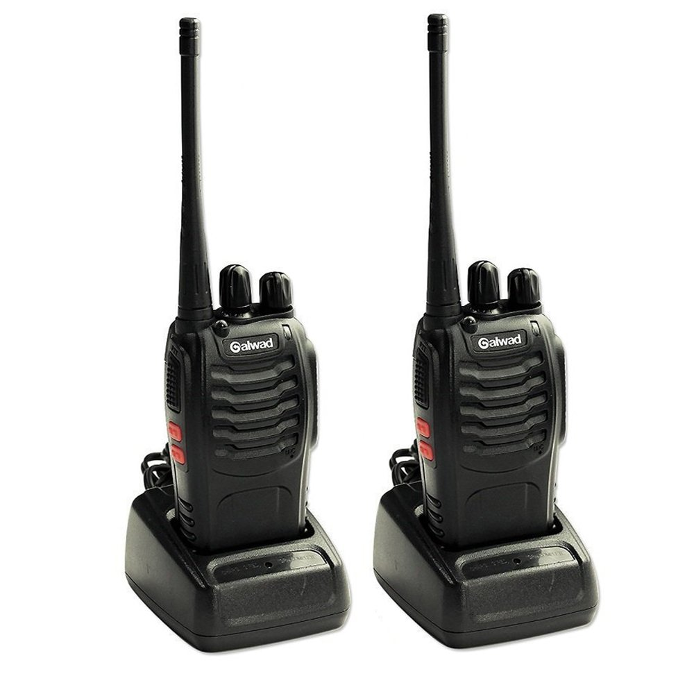 Galwad-888S Walkie Talkie 2pcs in One Box with Rechargeable Battery Headphone Wall Charger Long Range 16 Channels Two Way Radio (2pcs radios)