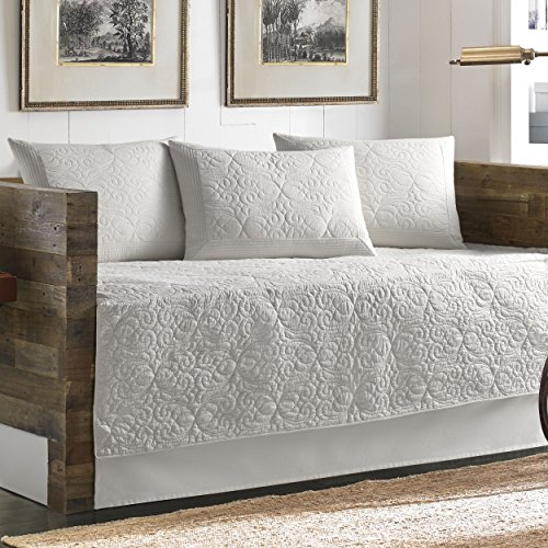 Tommy Bahama 5 Piece Quilted Daybed Cover Set, White (Sets Tommy Bedding)