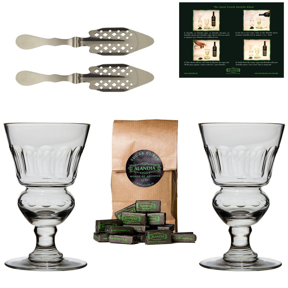 Traditional Absinthe Spoons Glasses Set/Includes 2x Absinthe Glasses / 2x Absinthe Spoons / 1x Absinthe Sugar Cubes - Includes a drinking instructions card of the Absinthe ritual -