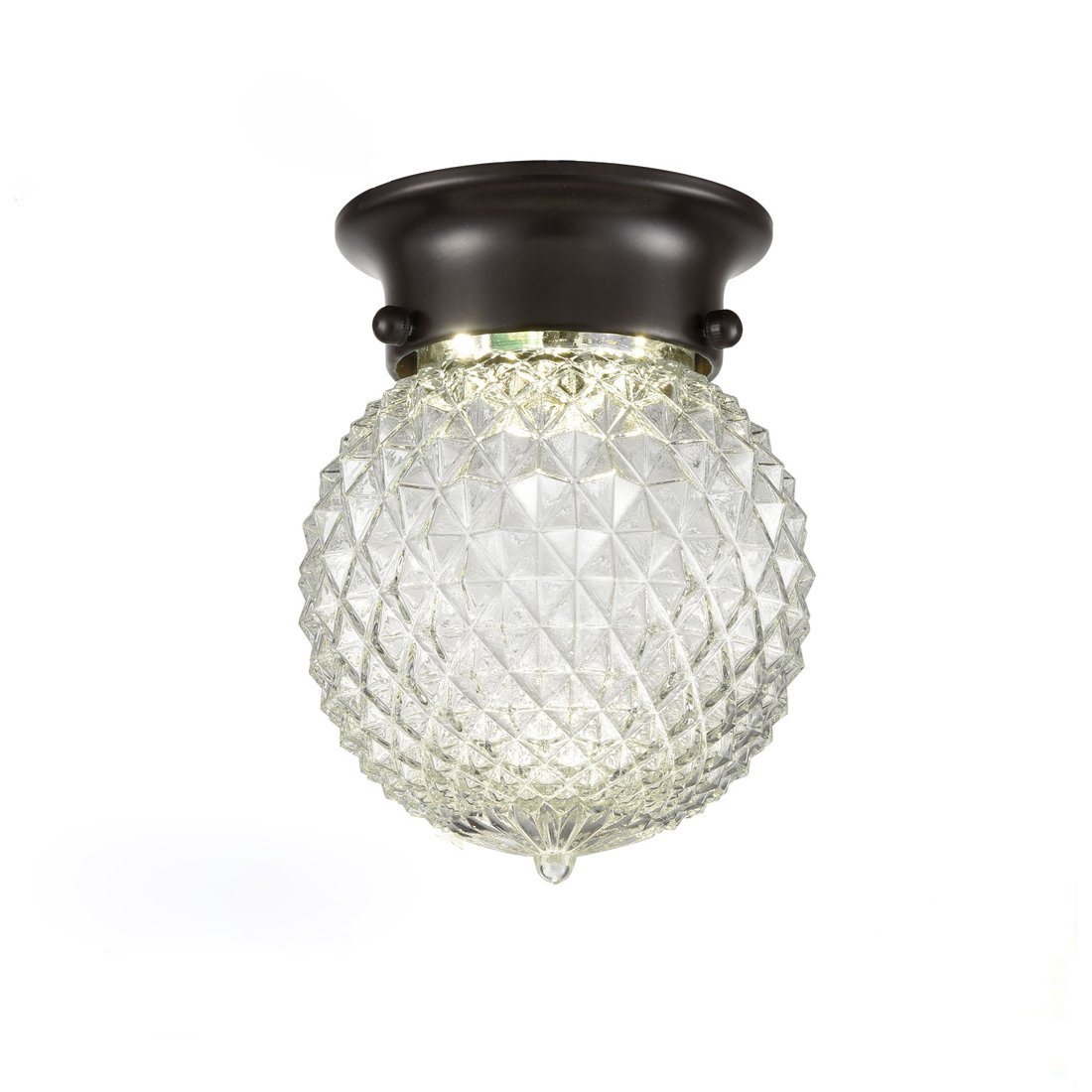 AXILAND Industrial Antique Style Plantation Collection Flush Mount LED Ceiling Light Prismatic Glass Globe Light Fixtures