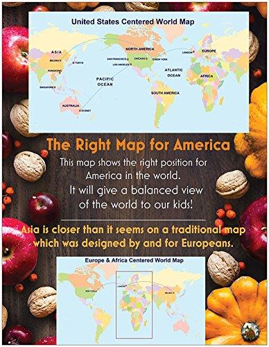 "United States Centered World Map (1 Map, Laminated, 32"" x 53.5"" Rolled, 2017) Photo #4"