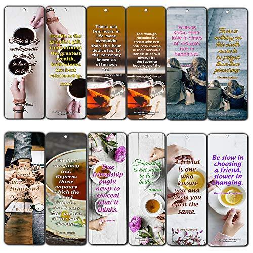 Creanoso Tea Time Friendship Bookmarks (12-Pack) - Awesome Bookmarks for Men, Women, Teens - Six Bulk Assorted Bookmarks Designs - Premium Design Gifts for Friends - Friendship - Friendship Bookmark