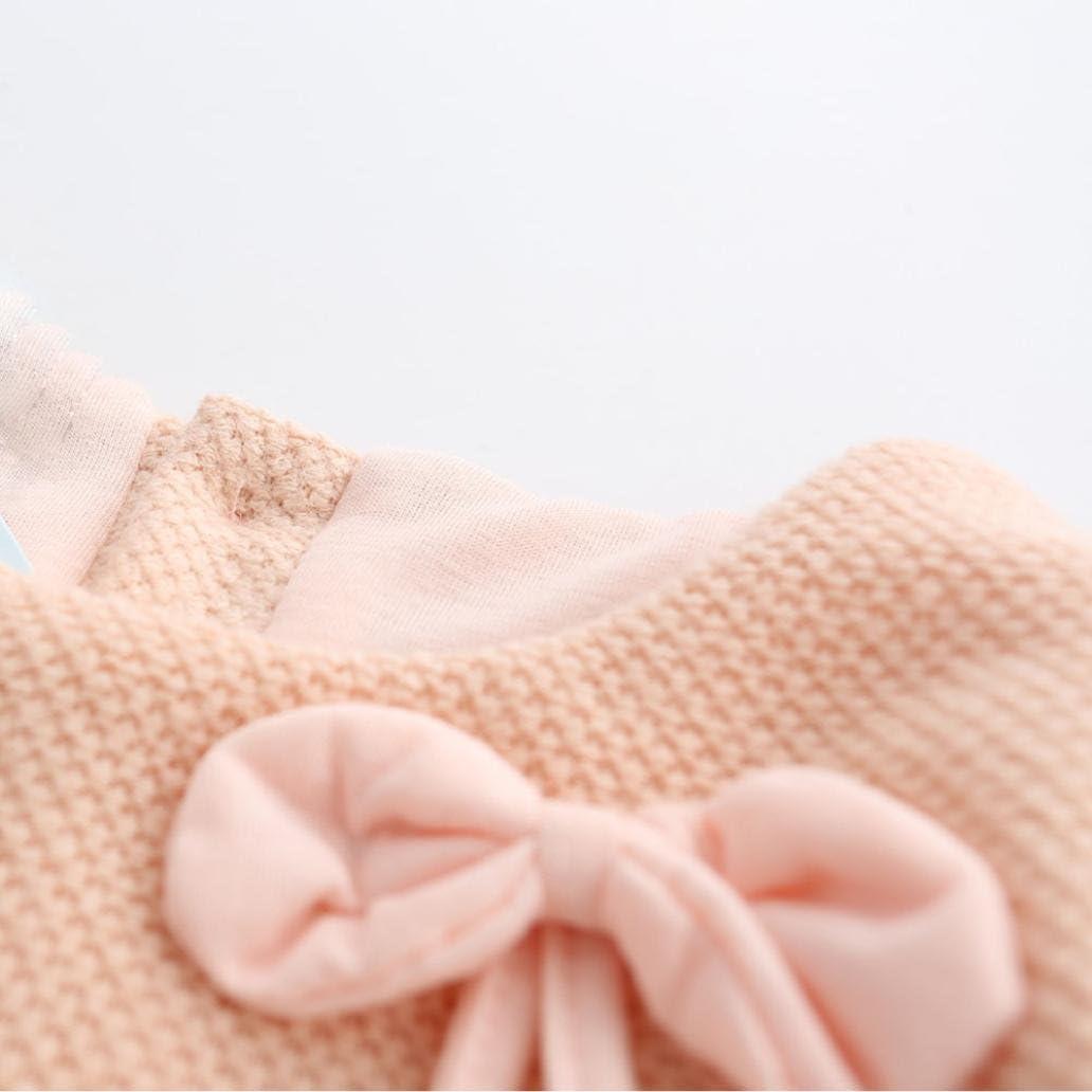 Hirolan Kleinkind Prinzessin Kleid Bekleidung M/ädchen Tutu Kleid Kinder Lange H/ülse Tops Bogen Dekoration Neugeborene Strickwolle 0-24Monate Baby