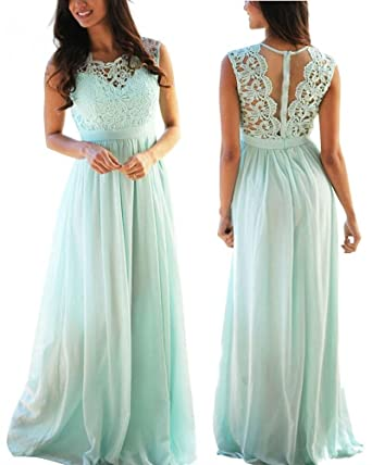Sleeveless Mint Bridesmaid Dress for Beach Wedding Formal Evening Dresses Long,Size 2