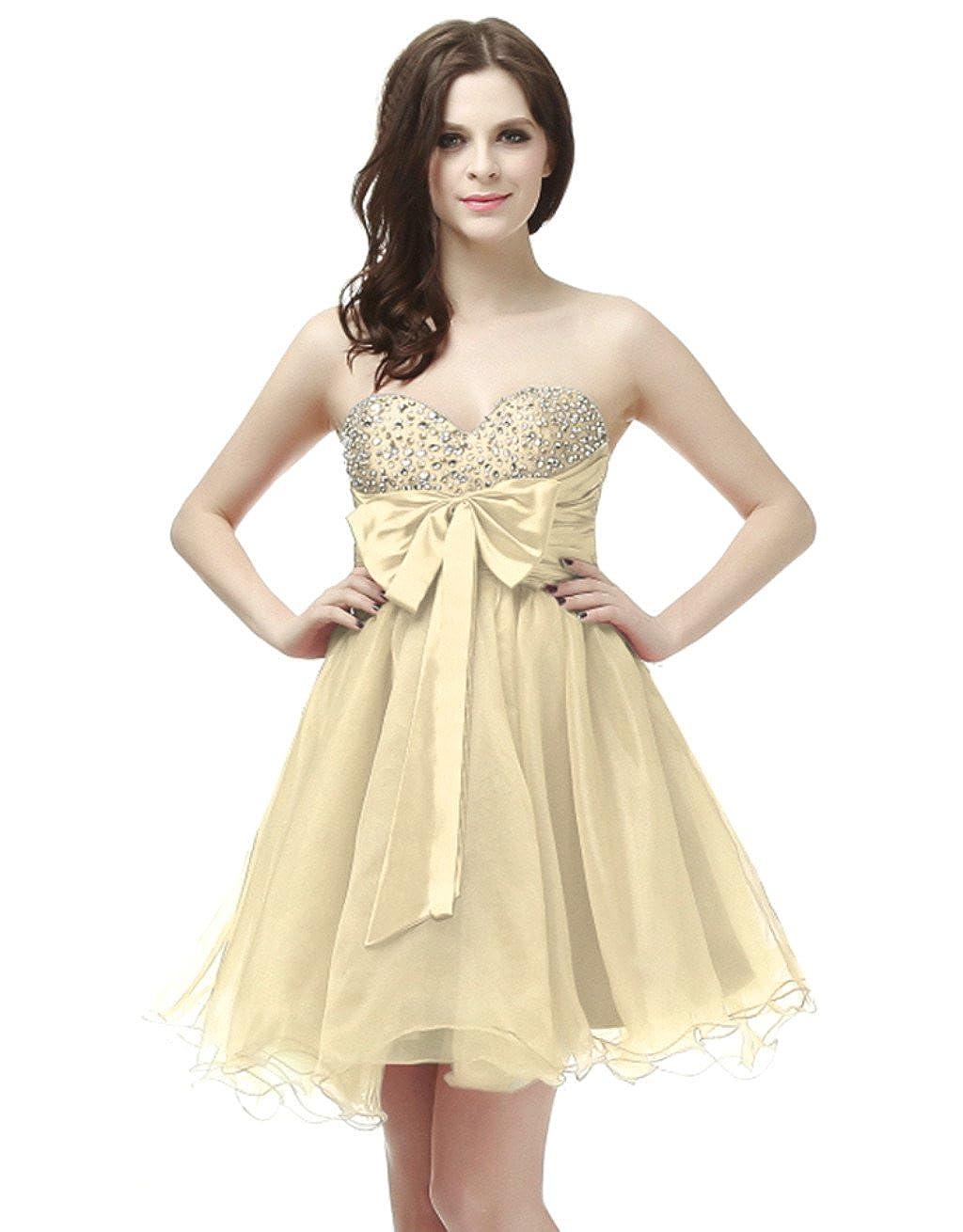 Champagne Vantexi Women's Organza Short Beaded Homecoming Dress Prom Gown