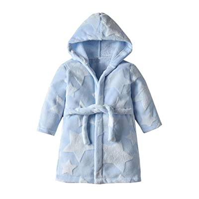 EDTO Kids Boys Girls Star Hooded Flannel Bathrobes Towel Night-Gown Sleepwear (1-2 Years, Light Blue): Toys & Games