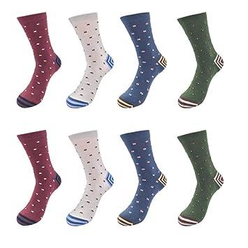 LILIKI@ Algodón Hombres Calcetines Divertidos Pequeño Cubo Deco Compresión Antideslizante Cuatro Estaciones Moda Calcetines 4Pairs