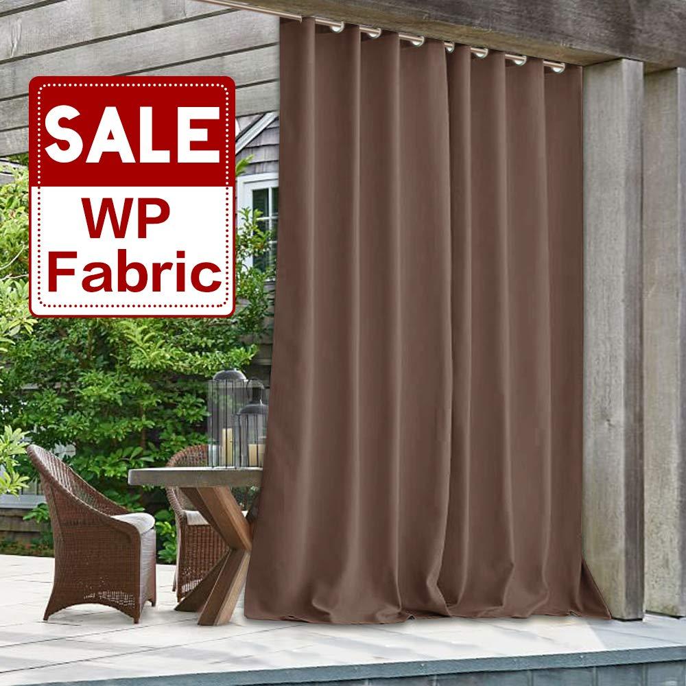 Blackout Outdoor Waterproof Curtain Panel - 108 inch Long Heavy-Duty Patio Drapery Wind Resistant Energy Efficient Shade Door Blind for Pavilion/Nursery/Gazebo, Mocha, 100'' x 108'', Single Piece