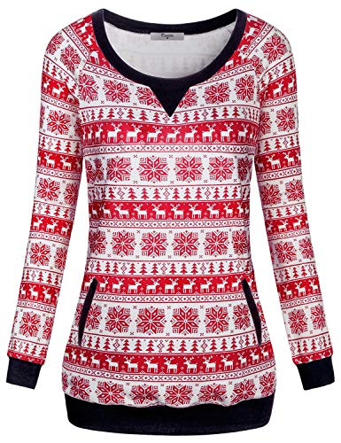 Snow Crewneck Top - Cestyle Boutique Clothing for Women, Cute Sweaters Relaxed Fit Long Sleeve Crewneck Sweatshirt Merry Christmas Casual Daily Wear Colorblock Loose Pullover Snowflake Red Top X-Large