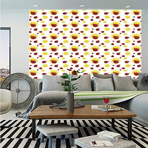 Ladybugs Huge Photo Wall Mural,Summer Season Inspired Sun Pattern Bugs Animal Imagery Cartoon Characters Decorative,Self-Adhesive Large Wallpaper for Home Decor 100x144 inches,Red Black Yellow