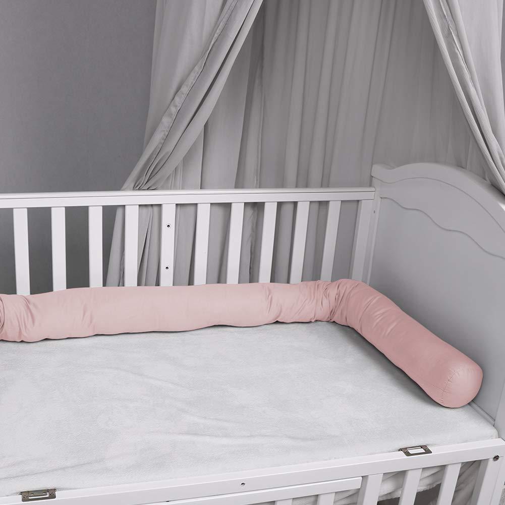 Bettschlange 200 cm Nestchenschlange f/ür baby Bettrolle 2m bettumrandung Babybettschlange Grau mit Wei/ß Sternen Grau