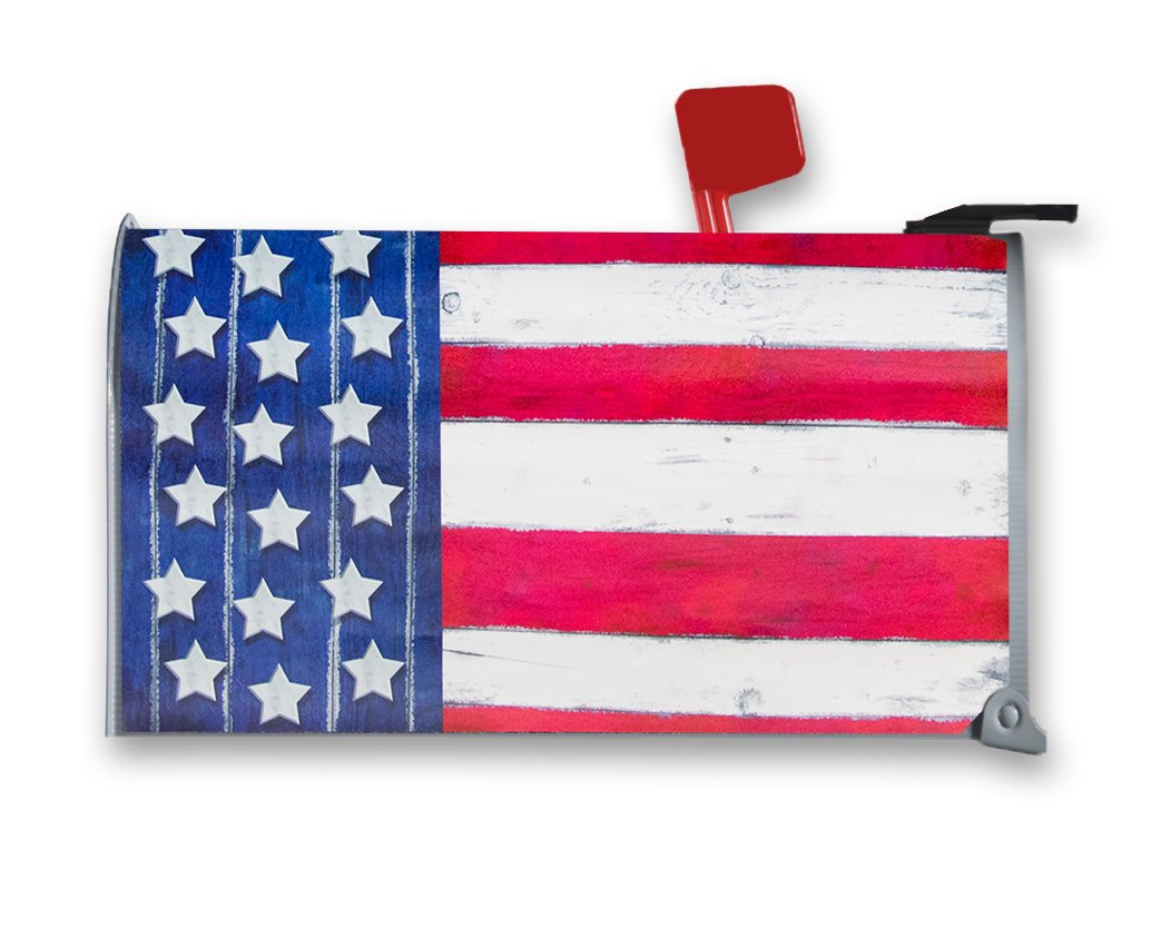 Juvale Patriotic Magnetic Mailbox Cover - America Themed, Decorative Vintage Vinyl Mailbox Wrap for Standard Size, USA American Flag Design for Flag Day, Memorial Day - Tricolor, 17.25 x 20.75 Inches