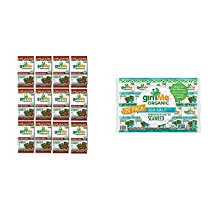 gimMe Snacks - Organic Roasted Seaweed - Teriyaki - (.35oz) - (Pack of 12) - non GMO, Gluten Free, 20 Count | Keto, Vegan, Gluten Free |Great Source of Iodine and Omega 3's