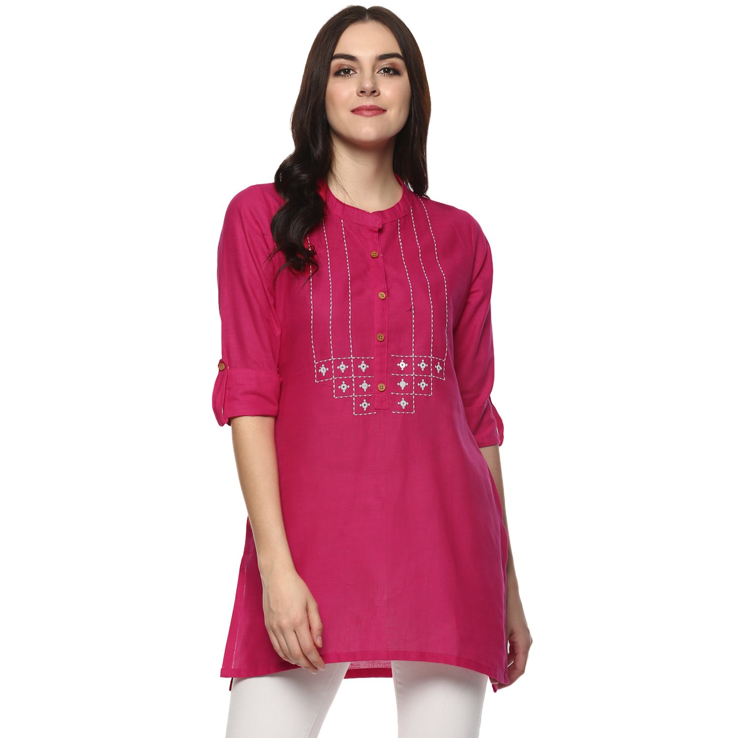 Aahwan Indian Kurtis for Women Navy Solid Cotton Short Straight Embroidered Half Sleeve Hip Long Tunic (X-Large - 42, Pink)