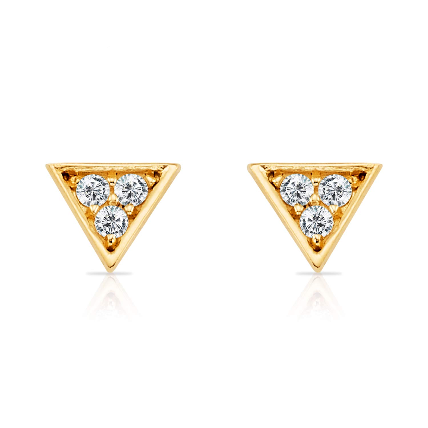 Solid 14k Yellow Gold Tiny Triangle Stud Earrings with 3 CZs Inset for Women and Girls