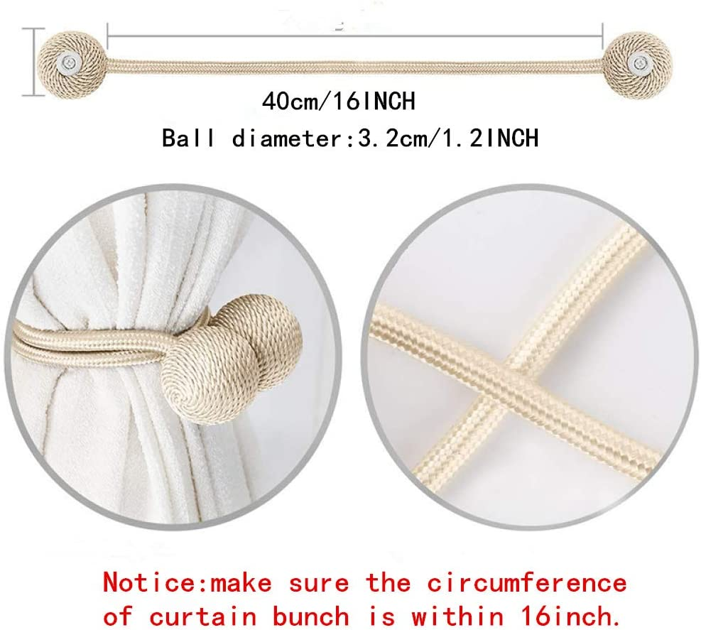 Weave Rope Curtain Holdbacks Holder for Window D/écor,Office,Window Drapries Slegrey 2 Pack Magnetic Curtain Tiebacks,Curtain Holdbacks,Convenient Decorative Curtain Drape Tie Backs 16 Inch,White