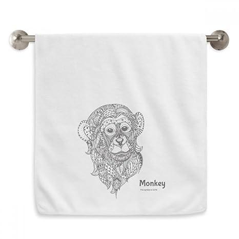 DIYthinker Toalla de lavabo con diseño de mono de gran boca, color blanco, 33