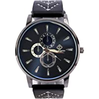 Men's Watches Wrist Watch with Leather band Black Color