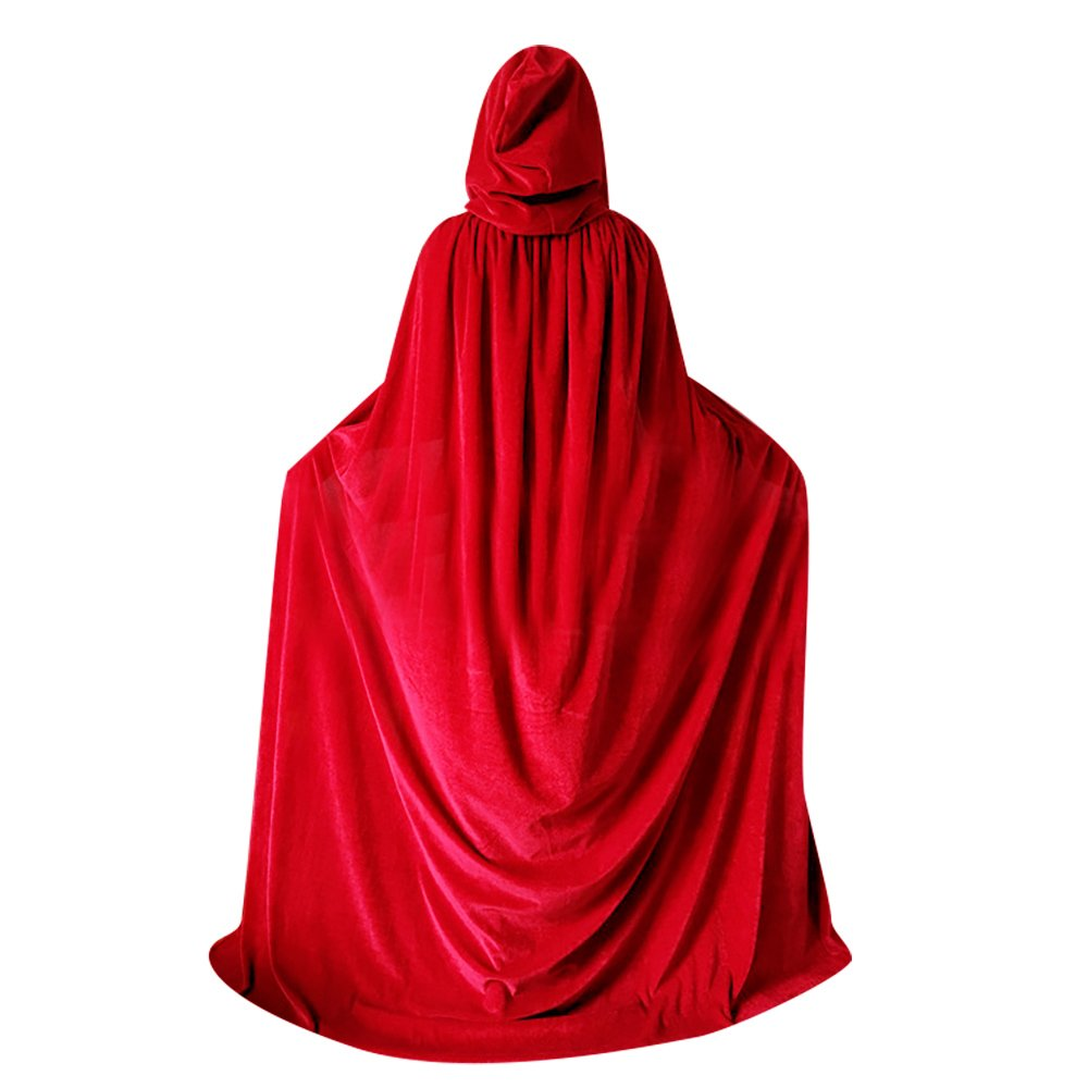 qbsm women men red halloween velvet cloak witch wizard costume hooded party raven cosplay capes adult