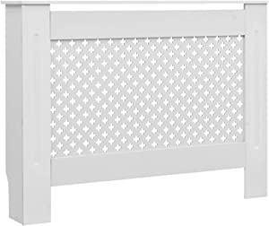 Festnight Modern Radiator Cover MDF Slatted Design Heating Cabinet Smooth Top Storage Shelf for Living Room Bedroom Furniture Decor White 44.1 x 7.5 x 32.1 Inches (W x D x H)