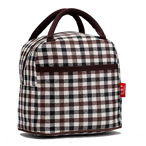 Fashion Zipper Lunch Bag Picnic Box Cosmetic Bag for Women Girls Tote Handbag (Brown Line)