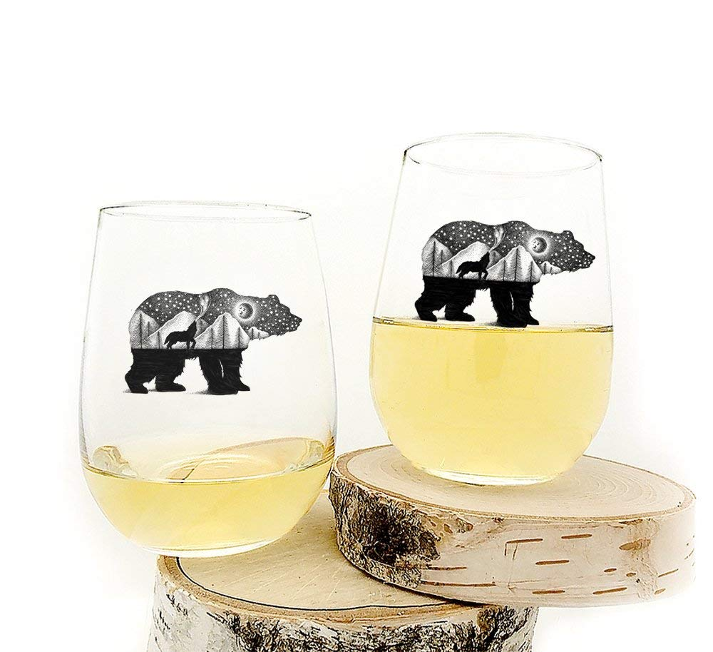 17oz. Wine Glasses Bear and Wolf Set of Two Stemless Wine Glasses