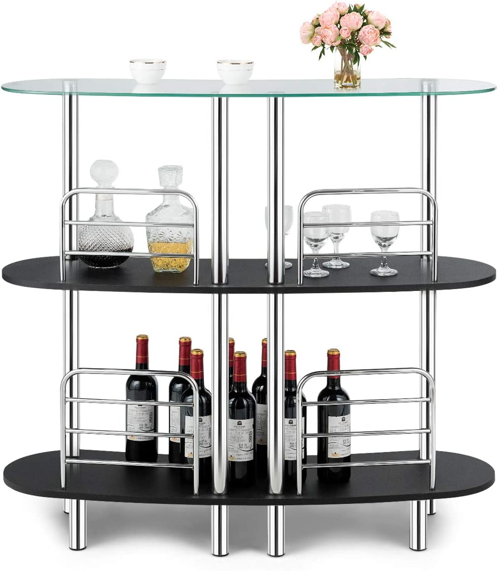 COSTWAY 3-Tier Glass Liquor Bar Cabinets, Wine Bar Storage with Tempered Glass Counter Top and Metal Frame, Bar Unit with 2 Shelves, Bar Organize Ideal for Home Kitchen Bar Pub
