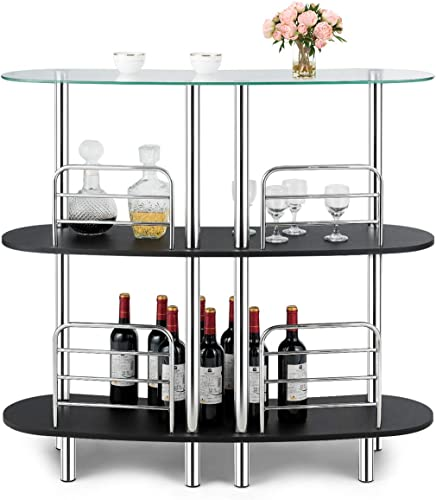 COSTWAY 3-Tier Glass Liquor Bar Cabinet