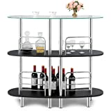 COSTWAY 3-Tier Glass Liquor Bar Cabinets, Wine Bar Storage with Tempered Glass Counter Top and Metal Frame, Bar Unit with 2 S
