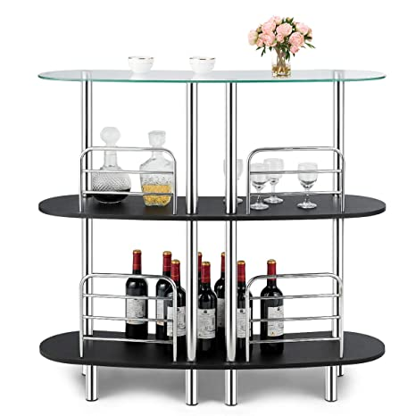 COSTWAY 3-Tier Bar Cabinets Table, Liquor Display Bar Storage with Tempered  Glass Counter Top and Metal Frame, Bar Unit with 2 Shelves, Bar Organize ...