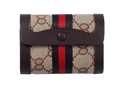 6ed28ccf3 LXJ tienda mujeres tarjetero piel lienzo tarjeta de Crédito Soporte Hombres  rayas pequeño delgado billetera delgado