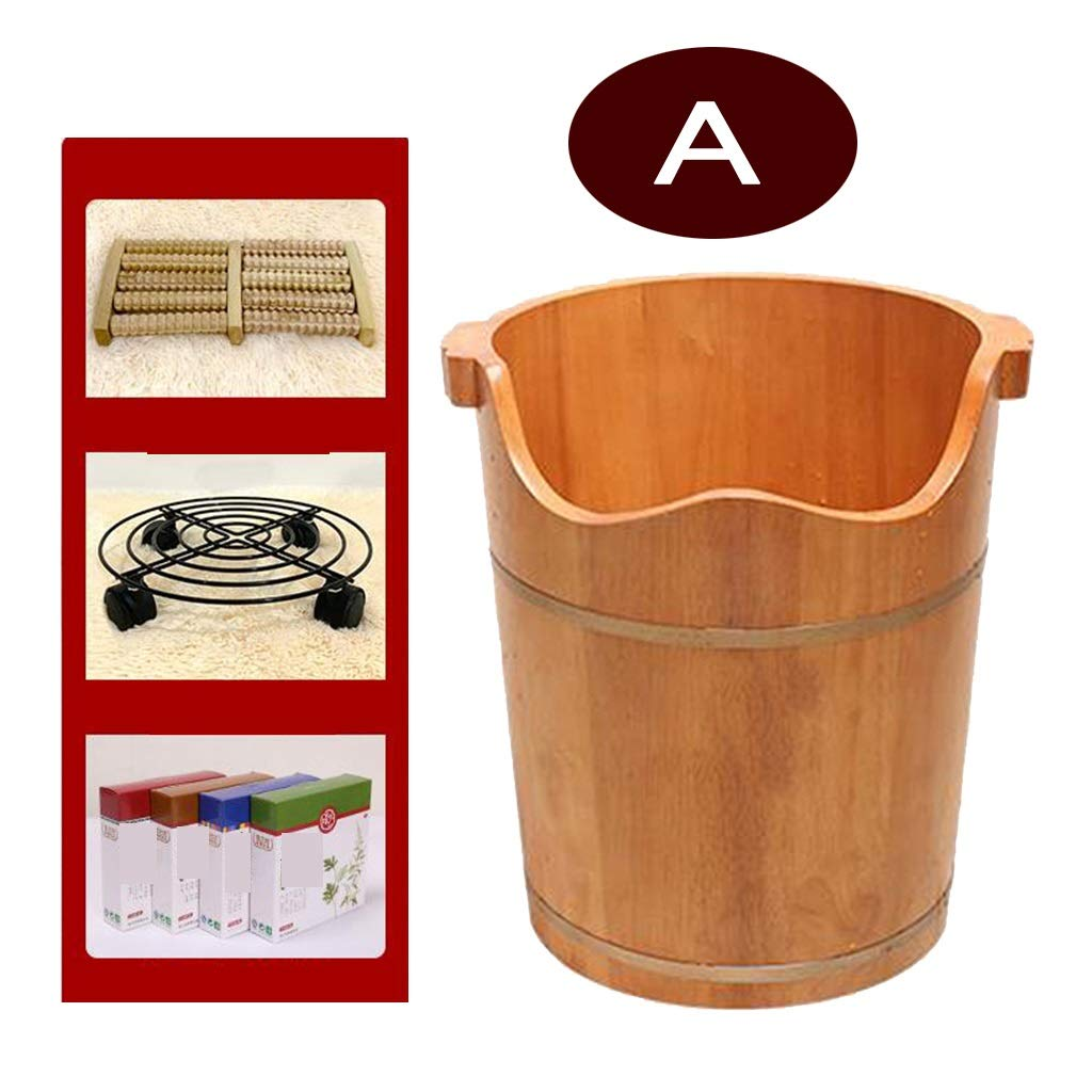 Foot Bath Tub,Oak Household Health Care Foot Bathtub Solid Wood Foot Bath Barrel with Cover,One-Sided Bucket Ear Foot Barrel (Size : A)