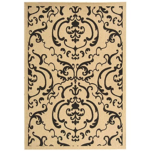 Sand 3x5 Area - Safavieh Courtyard Collection CY2663-3901 Sand and Black Indoor/ Outdoor Area Rug (5'3