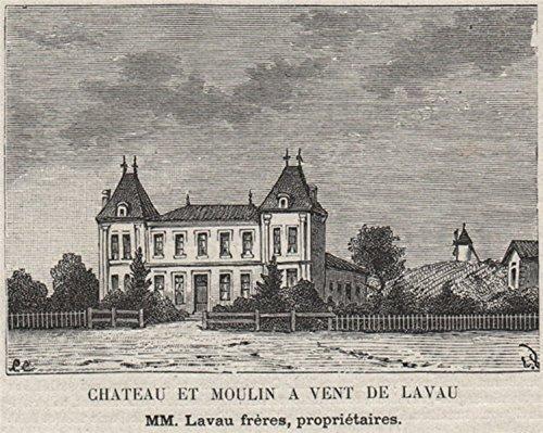 (SAINT-ÉMILIONNAIS. NÉAC. Chateau et Moulin a Vent de Lavau. Lavau. SMALL - 1908 - old print - antique print - vintage print - Gironde art prints)