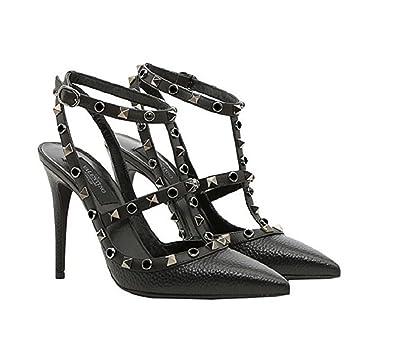 cce6d484fd5d VALENTINO GARAVANI Women s Rockstud Rolling Noir 100MM Black Heeled Sandals  (38 ...