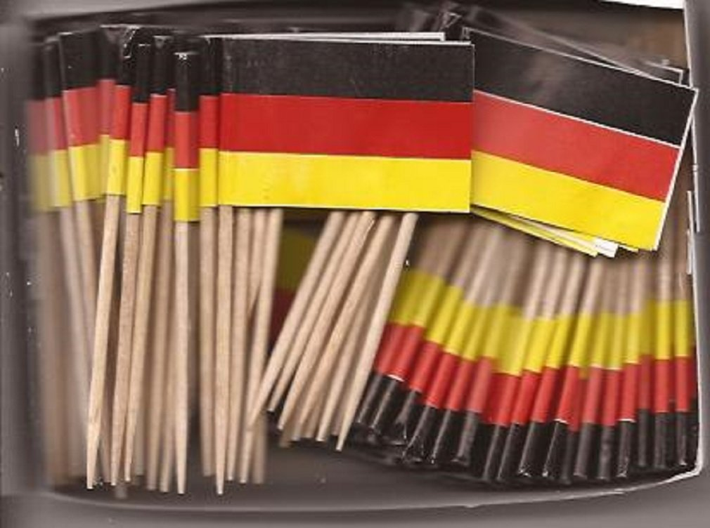 25 Box Wholesale Lot of Germany Toothpick Flags, 2500 Small Mini German Flag Cupcake Toothpicks or Cocktail Picks