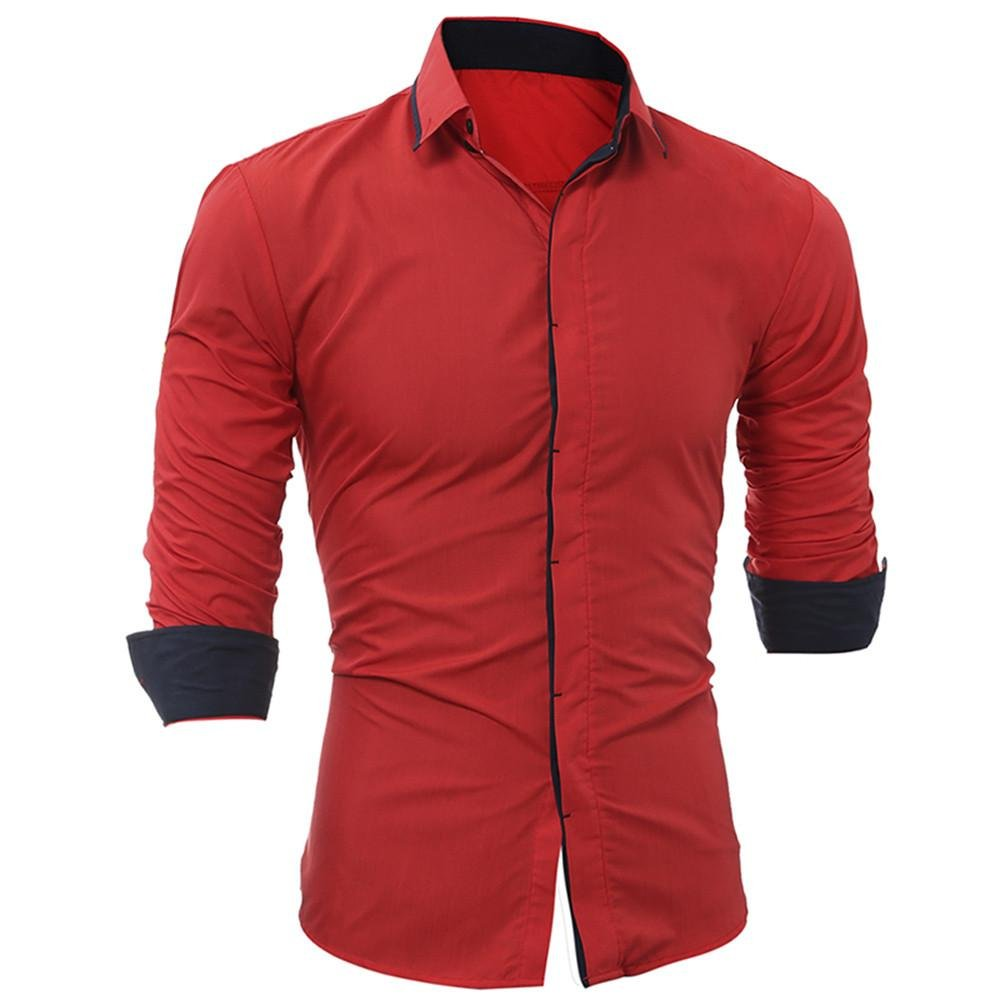 Dacawin Men Shirt Fashion Solid Color Blouse Male Casual Long Sleeve Shirt