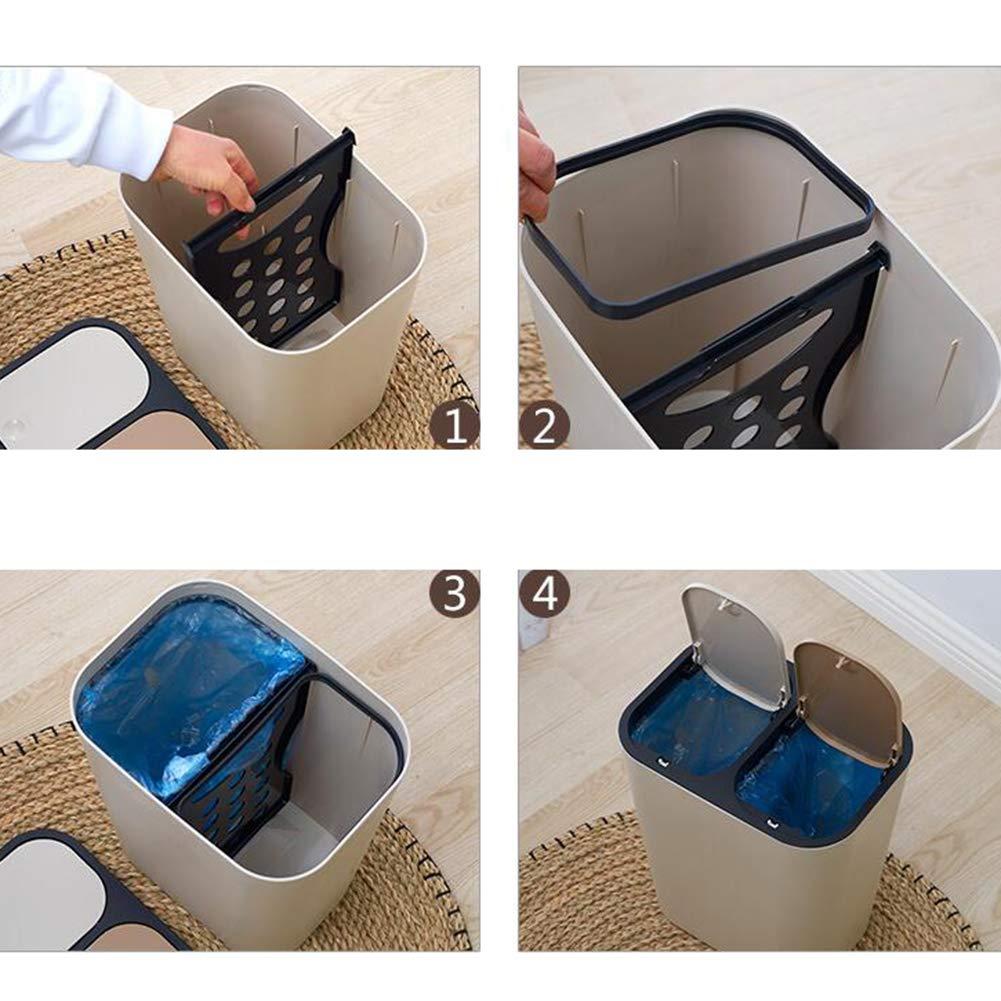 Compartimientos De Reciclaje De Basura con Capacidad Sgsa ROM Papelera Papelera De Reciclaje para Residuos De Cocina 33.58 X 22.5 X 29 Cm,White