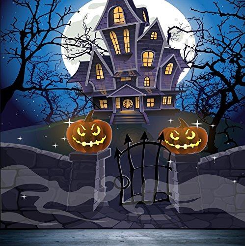 Baocicco Cartoon Haunted House Halloween Full Moon Background 4x4ft Photography Background Grimace Pumpkin Lantern Gloomy Trees Flying Bats Creepy Night Spooky -