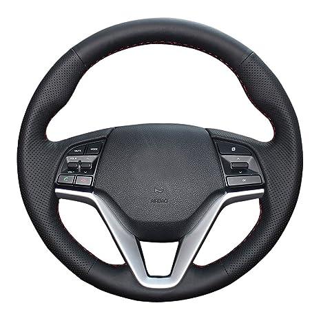 eiseng DIY funda para volante de piel auténtica para 2016 2017 Hyundai Tucson SUV bordado en