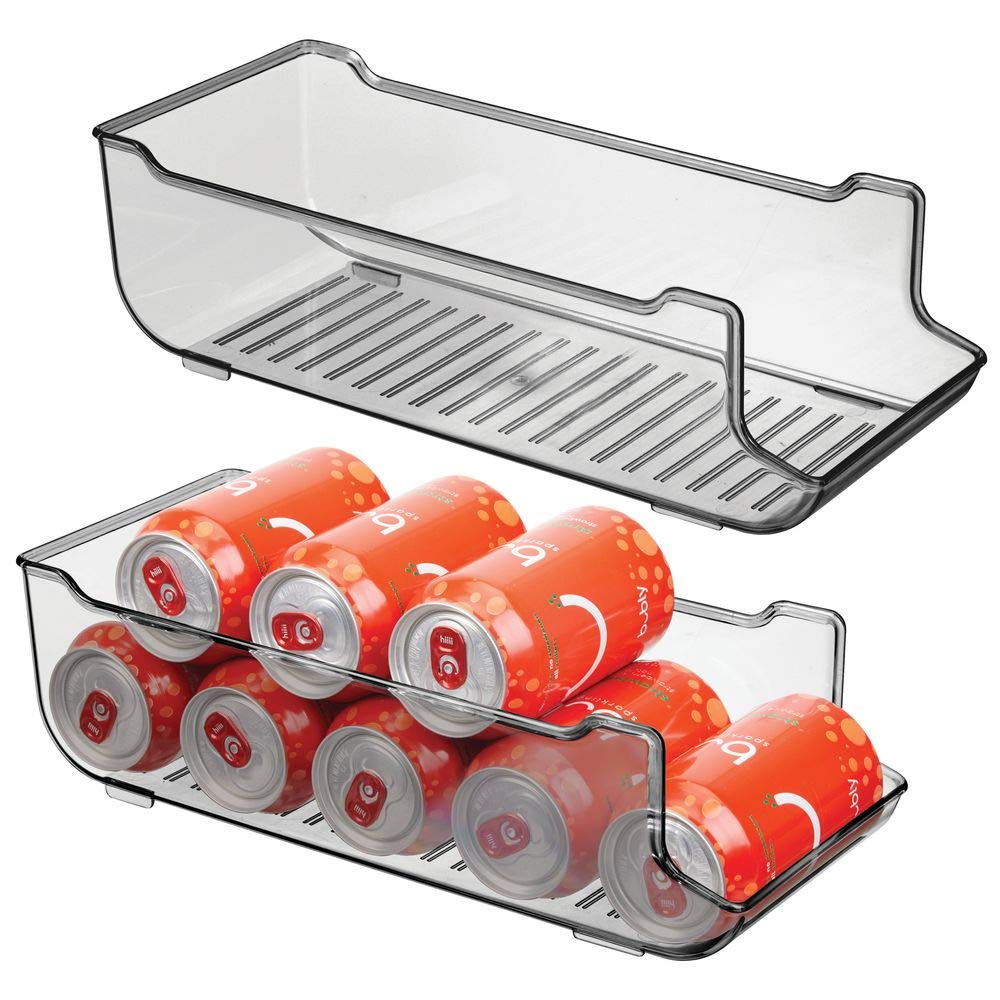 mDesign Large Plastic Pop/Soda Can Dispenser Storage Organizer Bin for Kitchen Pantry, Countertops, Cabinets, Refrigerator - Holds 9 Cans - BPA Free, Food Safe, 2 Pack - Smoke Gray