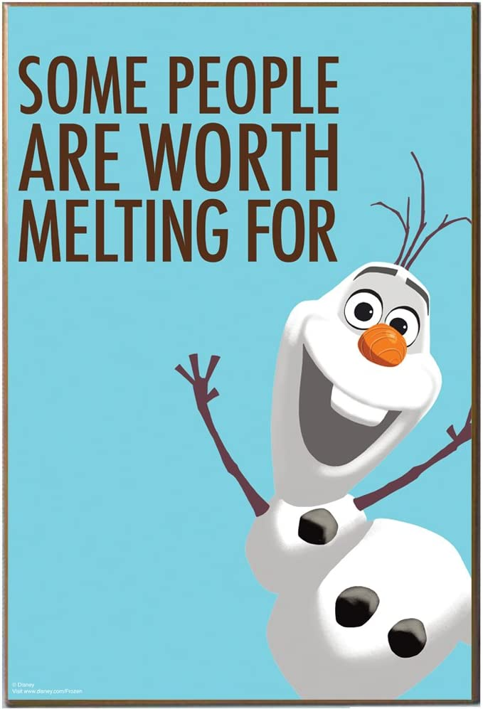 """Silver Buffalo DQ2136 Disney Frozen """"Olaf Quote"""" Wood Wall Art Plaque, 13 x 19 inches"""