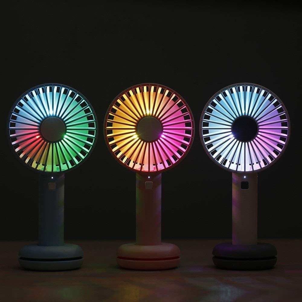 Color : Pink, Size : 21116.2cm 夏用ファン Mini Handheld Personal Fan with 7 Color Changing Led Light USB Rechargeable Battery Operated with USB Cable Base for Dorm Outdoor Household Traveling