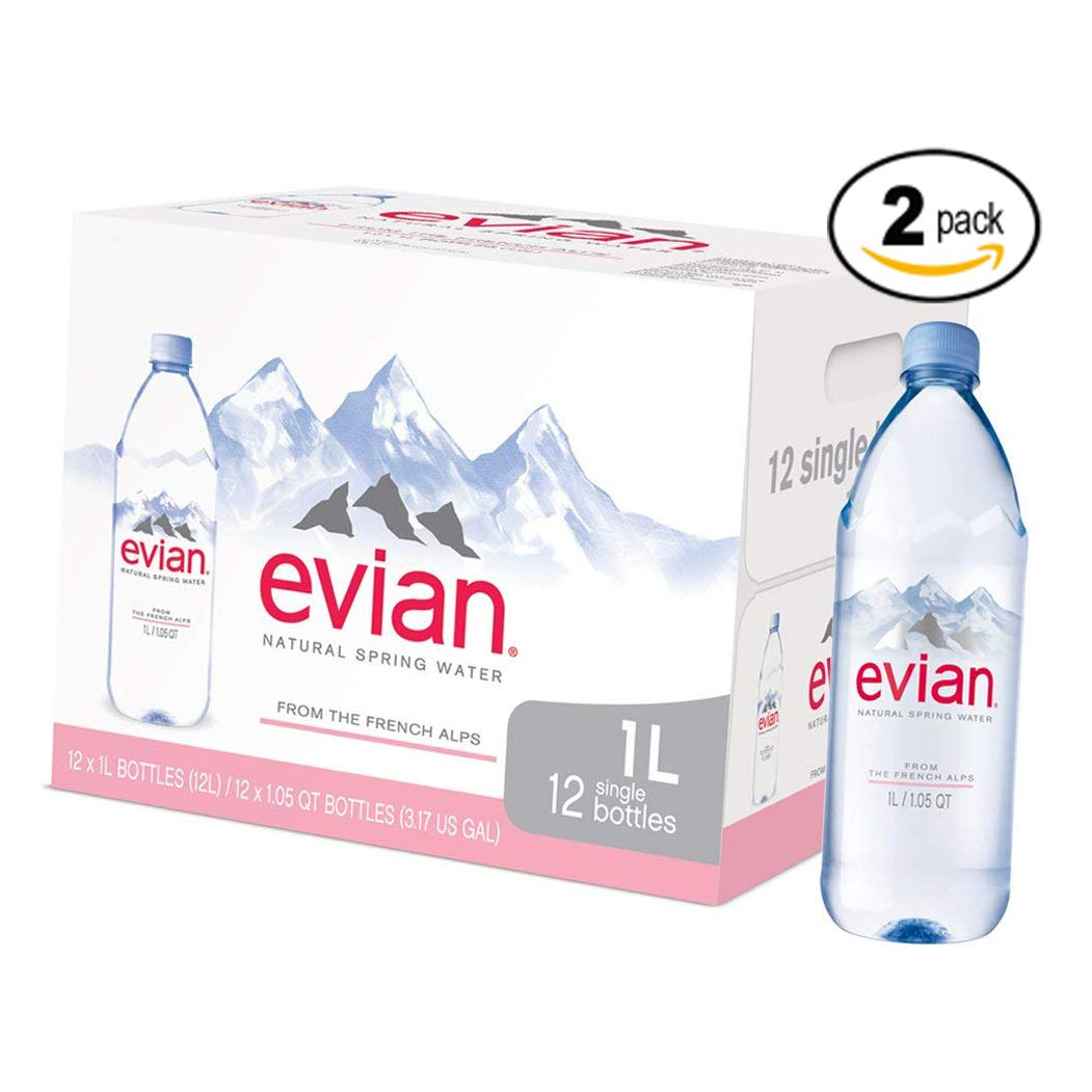 evian Natural Spring Water (One Case of 12 Individual Bottles, Each Bottle is 1 Liter) Naturally Filtered Spring Water in Large Bottles (2 Pack)
