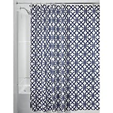 "InterDesign Trellis Fabric Shower Curtain - 72"" x 72"", Navy Blue/White"