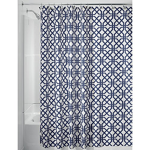 navy and white shower curtain. InterDesign Trellis Fabric Shower Curtain  72 x Navy Blue White Amazon com