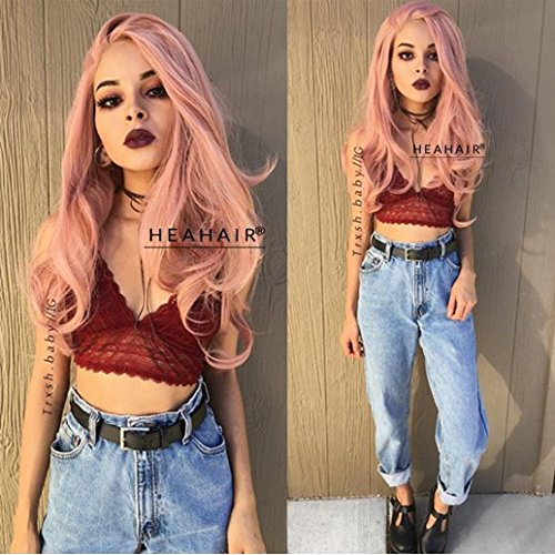 Heahair Best Pastel Peach Long Full Wavy Synthetic Lace Front Wigs (Best Synthetic Wigs)