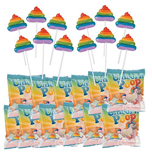 Fun Express Magical Unicorn Poop Party Favor Candy Bundle | 12 Rainbow Swirl Poo Lollipops and 12 Bags of Fluffy Marshmallow Poo Puffs
